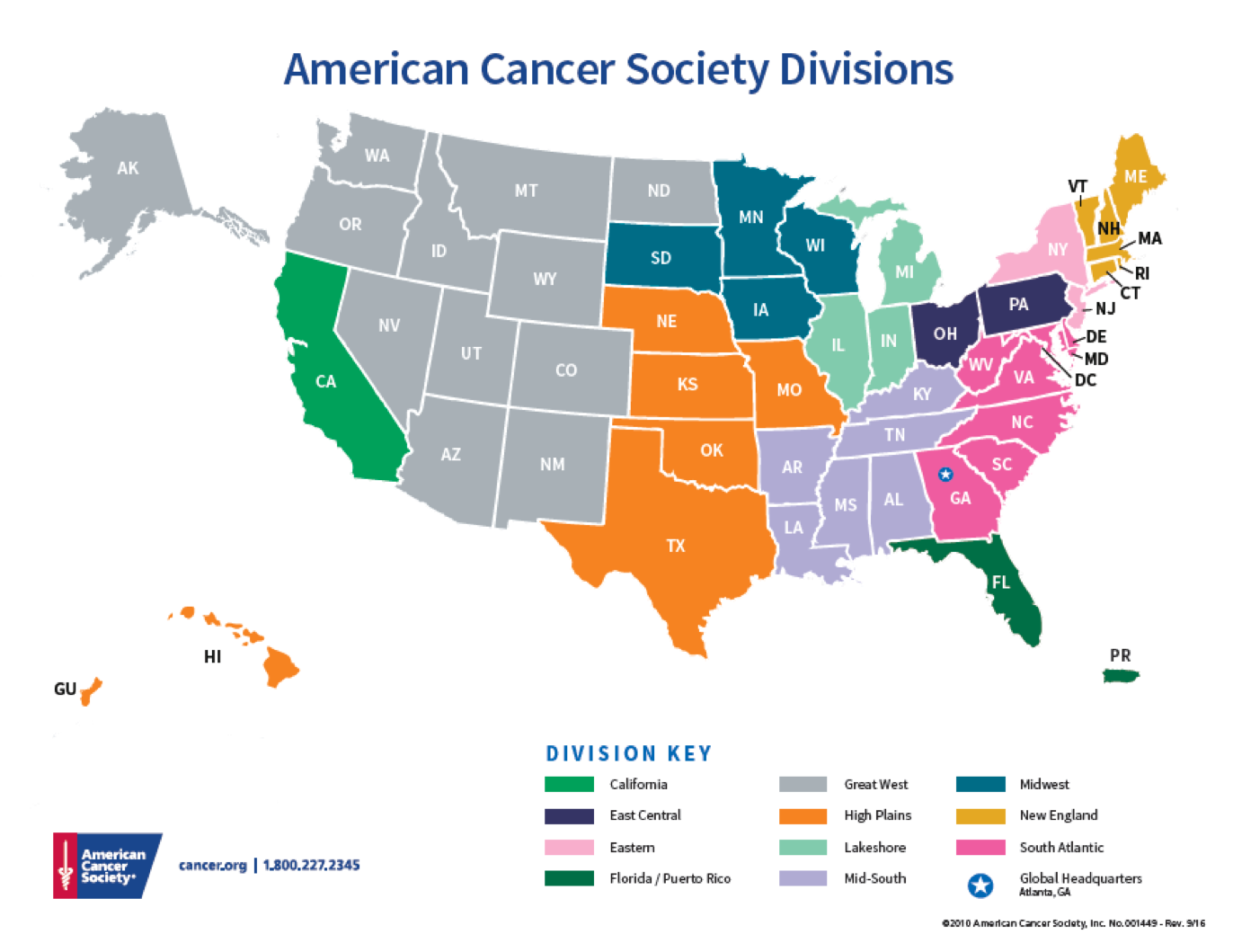 American Cancer Society Divisions